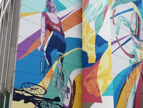 Street art-muur 'Tour de France'