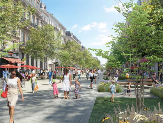 Werken Anspachlaan tussen Kiekenmarkt en Grétrystraat