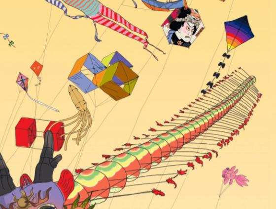 Kites vliegen over de Kaaien