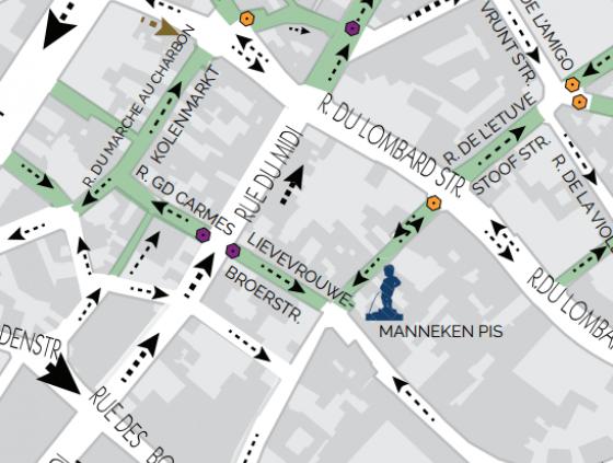 Nieuwe toegang tot voetgangerszone Zuid- en Lievevrouwbroersstraat