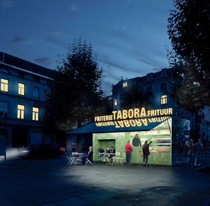Simulatie frietkot Lakensestraat (nacht)