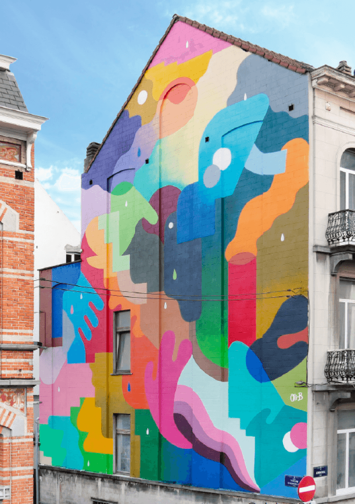 Muurschildering The First Date van Oli-B © Jules Césure