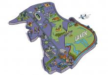 Kaart van Laken - klik om te vergroten